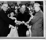 Hubert Humphrey(center) on a campaign tour to WV.1968?
