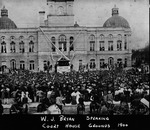 William Jennings Bryan giving campaign speech at Cabell County Courthouse, 1900