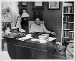 Jesse Stuart in his home office, ca. 1955