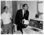 Dr. Carl Hoffman examines equipment at Danderyds Hospital, Stockholm, Sweden