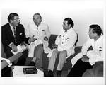 Dr.Ernst Fromm & Dr. Carl Hoffman meet with staff at Hamburg Hosp