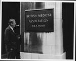 Dr. Carl Hoffman in front of British Med. Association building, England 1972,