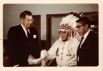 Dr. Carl Hoffman being inducted into the Blackfoot Nation by Chief Old Person
