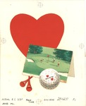Golf scene with heart, ball, and tees