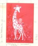 Monkey painting hearts on giraffe