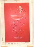 Cupid on rim of glass