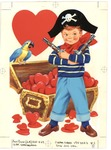 Pirate boy guarding chest of hearts