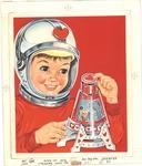 Space boy with Valentine's shuttle