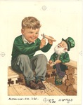Boy carving wood with leprechaun