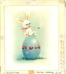 Smoking bunny on Easter egg