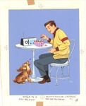 Teenage boy with jelly beans and dog