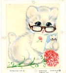 Cat with pink carnation