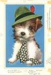 Terrier in hat and tie