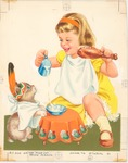 Girl and kitten with turkey leg and milk
