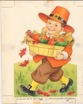 Pilgrim boy with harvest basket