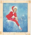 Teenage girl lacing ice skates