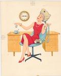 Woman with bonnet hair dryer