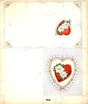 Valentine day card, heart candy box, watercolor or pastels Heart shaped candy box with roses