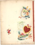 Home scenes with hearts, arrows, and key