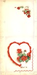 Red geraniums and lace heart