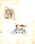 Boy and girl with tandem bicycle