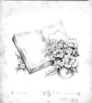 Valentine day card, flowers & book, watercolor or pastels