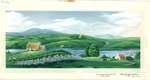 Green fields with cottages, sheep, and rainbow