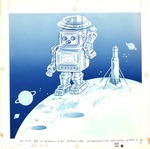 Robot on planet with rocket