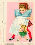 Girl with pillow and doll