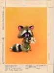 Raccoon with daisy