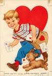 Boy carrying mail bag of Valentines