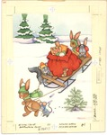 Forest animals pushing sled and toy sack