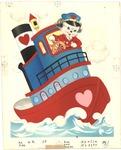 Dog and Valentine's tug boat