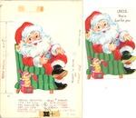 Santa Claus in green striped armchair