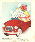 Two bunnies in MG car