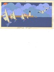 Five sailboats and lighthouse
