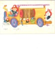 Boy on fire engine with animals