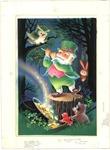 Leprechaun with flute in woods