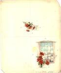 Winter window scene with poinsettias