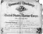 Honorable discharge for USMC Sgt. Earl F. Dickinson, Dec. 4, 1945, b&w