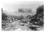 WWII Pacific Theater, combat photo: damaged Japanese building by Earl F. Dickinson