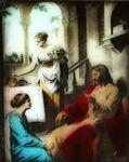 Victor Animatograph lantern slide: Christ with Mary and Martha