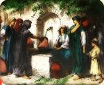 Victor Animatograph lantern slide: The Fountain at Nazareth