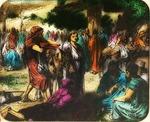 Victor Animatograph lantern slide:Jesus First Trip to Jerusalem