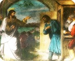 Victor Animatograph lantern slide: The Calling of Matthew