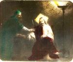Victor Animatograph lantern slide: Nicodemus Seeks Jesus by Night