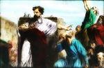 Victor Animatograph lantern slide: Moses Destroying the Golden Calf
