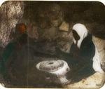 Victor Animatograph lantern slide:Woman Grinding at Mill