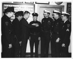 Huntington Police Dept. Chief Gil Kleinknecht announcing promotions, 1967