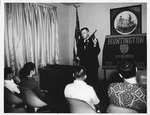 Chief Kleinknecht announcing establishment of Huntinton Junior Police, 1968